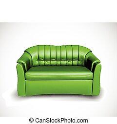 sofá, vetorial, verde
