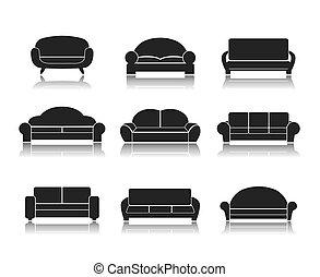 sofás, modernos, luxo, sofás