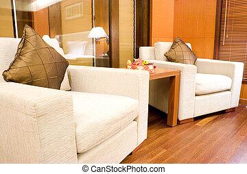 sofás, quarto hotel