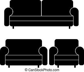 sofás, vector, sillón