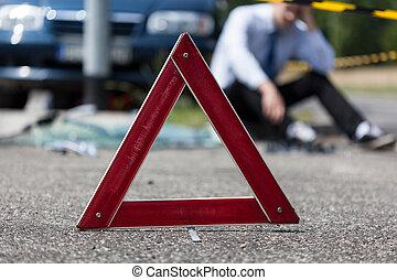 sofőr, autó, után, lezuhan