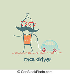 sofőr, versenyautó, noha, egy, apró autó
