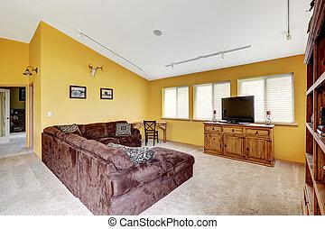 sof, casa fattoria, comodo, vaulted, lusso, ceiling., interno