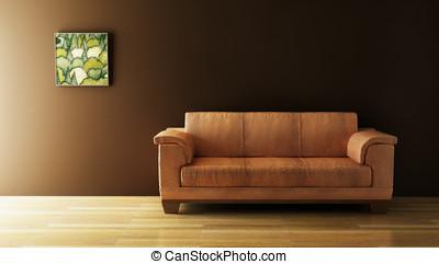 sofa 3D rendering - 3D rendering of leather sofa