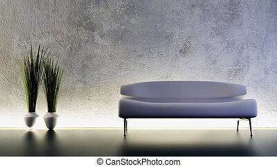 sofa, 3d, rendre