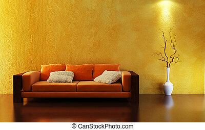 sofa, 3d, vertolking