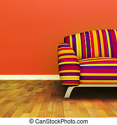 Sofa - A contemporary colorful sofa in an interior.