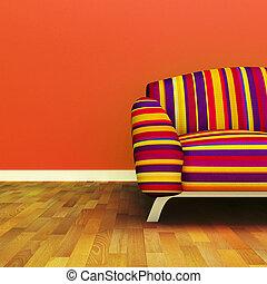 A contemporary colorful sofa in an interior.