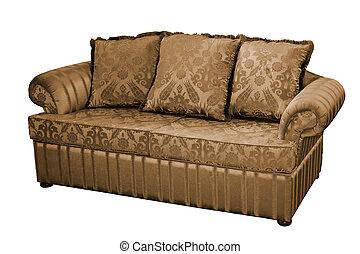 Sofa - A sofa with three  cushions over white.