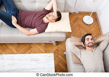 sofa, amis, deux, délassant