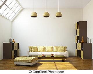 The room with a sofa and a shelfs