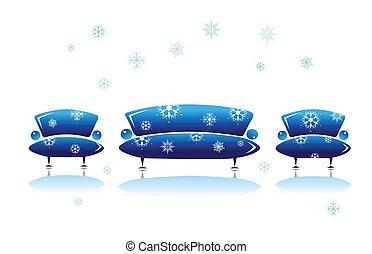 Sofa and armchair, christmas design