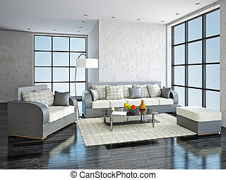 Leather sofa and armchair in the livingroom