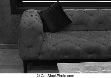 sofa and backrest pillow - Black and white image of vintage...
