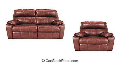 Sofa and chair isolated on white