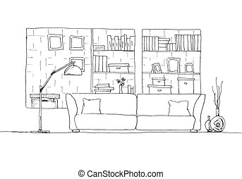 Sofa and floor lamp. Brick wall with shelves. Vector illustration of a sketch style.