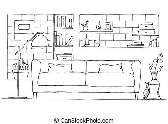 Sofa and floor lamp. Brick wall with shelves. Vector illustration of a sketch style