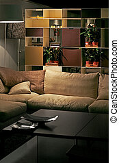 Sofa and shelf - Night view of sofa and shelf in living room