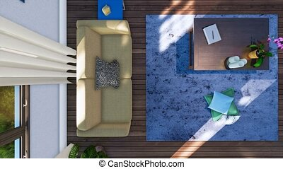 Sofa and table in living room interior top view 3D - Top...