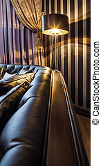 sofa and the floor lamp