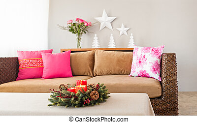 sofa, beige, oreillers