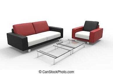 sofa, biały, czarny czerwony