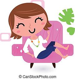 sofa, biały, kobieta, odizolowany, odprężając