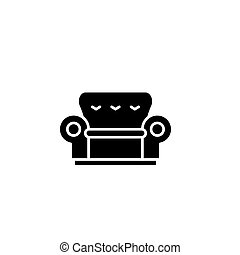 Sofa black icon concept. Sofa flat vector symbol, sign, illustration.