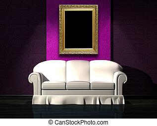 sofa blanc, à, pourpre, partie, mur, dans, minimaliste, intérieur