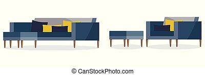 sofa blanc, couleur, tabouret, isolé, fond, doux, rembourré, icône, bleu, fauteuil