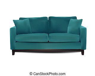 sofa, blanc, isolé