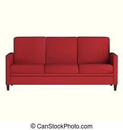 sofa, blanc, isolé, fond, meubles