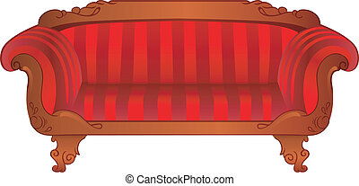 sofa, blanc, isolé, rouges
