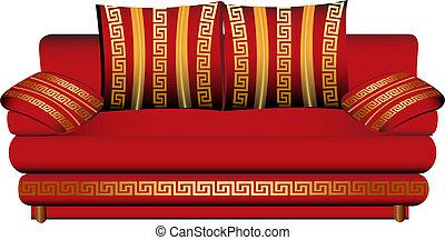 sofa, blanc, modèle, rouges, bain