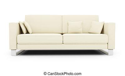 sofa blanc, sur, blanc