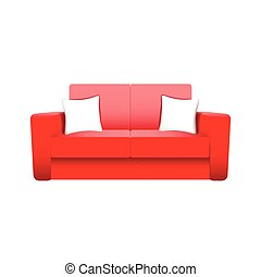 sofa, blanc, vecteur, isolé, fond