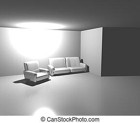 sofa, blanche salle, fond