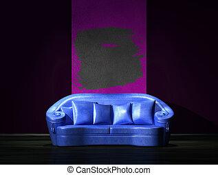 sofa bleu, à, pourpre, partie, mur, dans, minimaliste, intérieur
