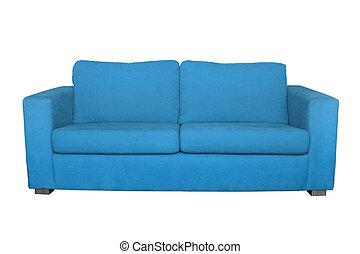 sofa bleu, blanc, isolé, fond