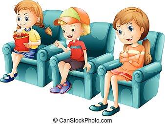 sofa bleu, enfants, séance