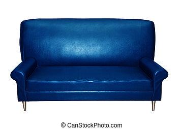 sofa bleu, fauteuil, luxe, isolé