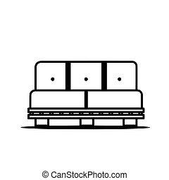 sofa bleu, icône