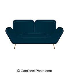 sofa bleu, isolé