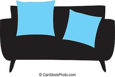 sofa bleu, oreillers, &