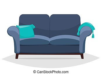 sofa bleu, pillows.