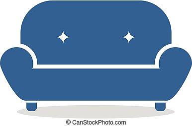 sofa bleu, symbole, plat