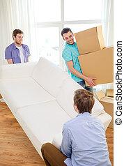 sofa, boîtes, nouvelle maison, sourire, amis