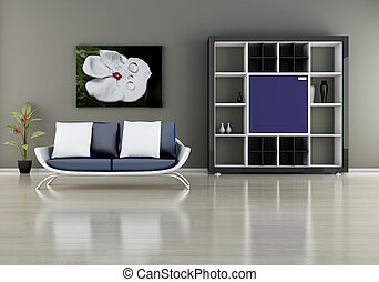 sofa, boekenplank