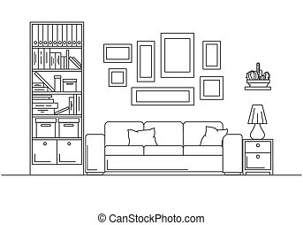 Sofa, bookcase, table with lamp. Linear sketch of the interior in a modern style.