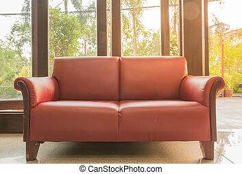 sofa brown sugar and yellow light